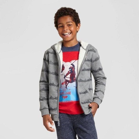12//14 Hooded Shirt~Cat /& Jack~NWOT Lightweight Boy/'s Large Denim Look Stripe